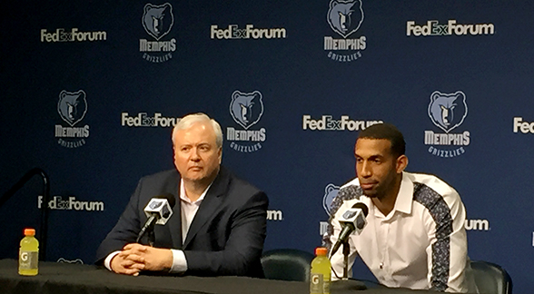 Brandan Wright answers media questions alongside Chris Wallace.