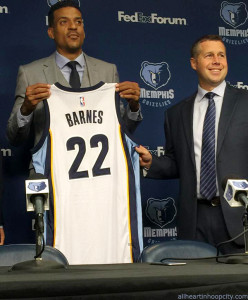 Matt Barnes receives Memphis Grizzlies jersey, with Coach Dave Joerger