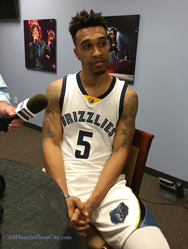 Courtney Lee listens intently to a question during Media Day 2015.