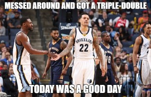 Messed around and got a triple-double...today was a good day.