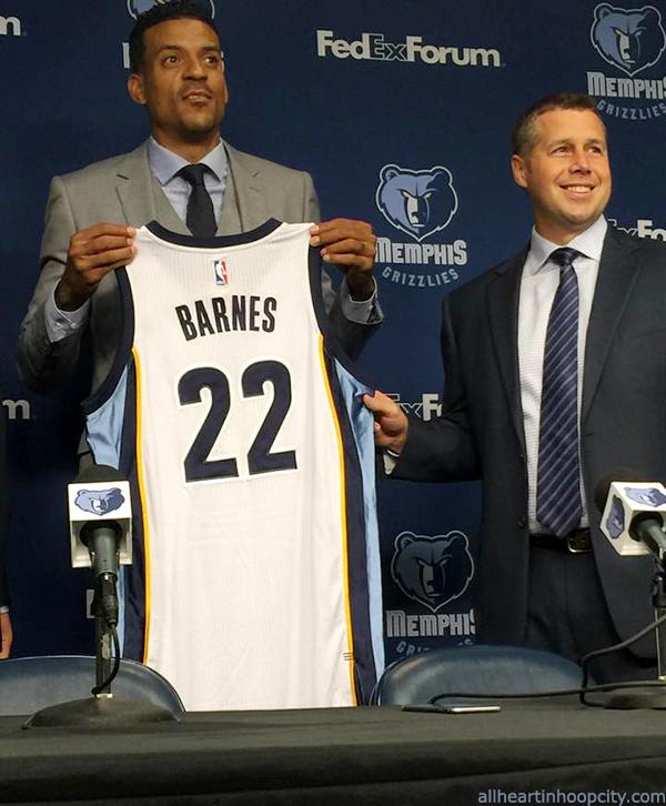 Matt Barnes receives Memphis Grizzlies jersey, with Coach Dave Joerger